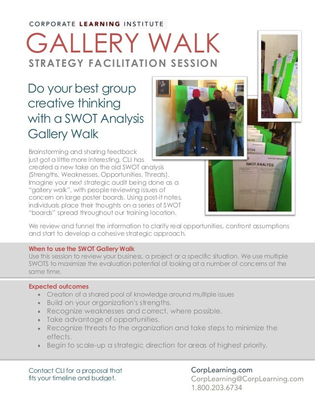 Do your best group creative thinking with a SWOT Analysis Gallery Walk GALLERY WALK STRATEGY FACILITATION SESSION Brainsto...
