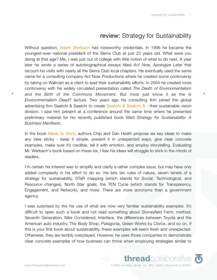 review: Strategy For Sustainability