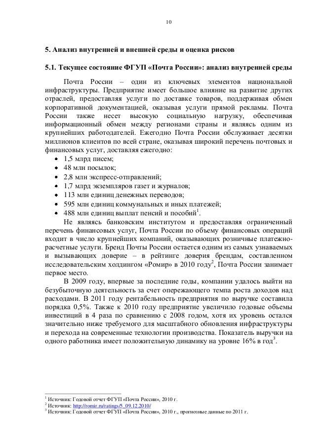 Текущее состояние ФГУП «Почта