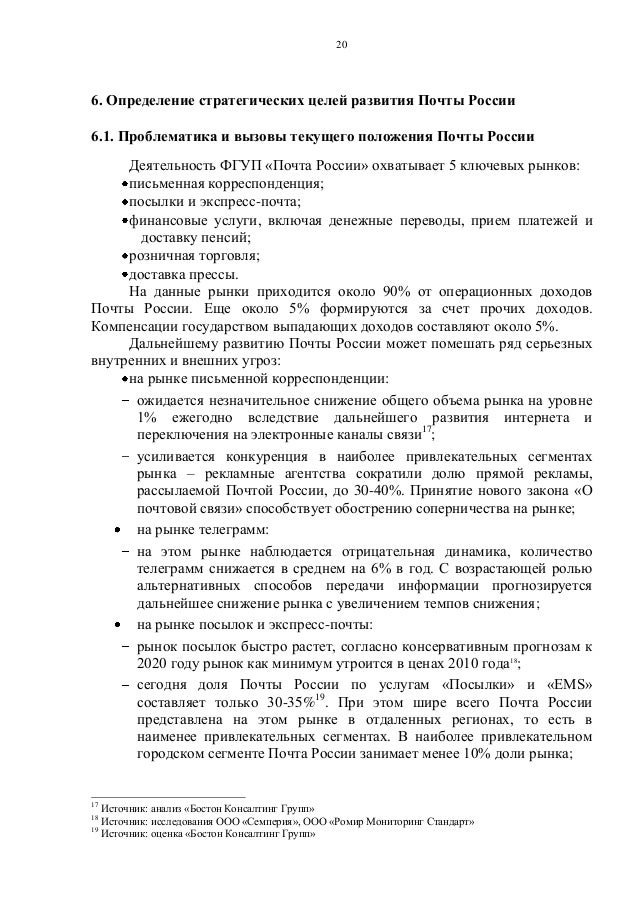 развития Почты России 6.1.