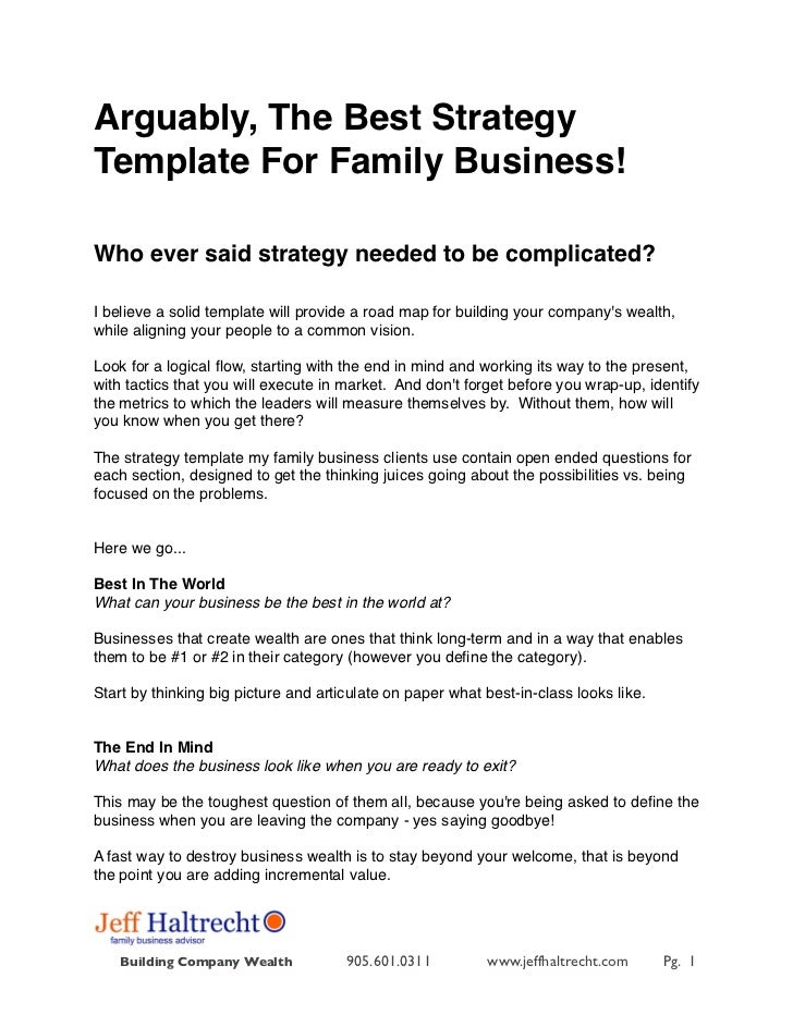 Arguably, The Best StrategyTemplate For Family Business!Who ever said strategy needed to be complicated?I believe a solid ...