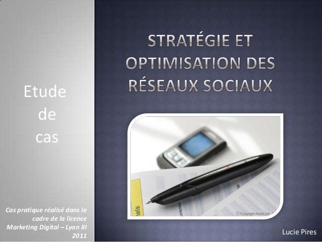 Etude de cas  Cas pratique réalisé dans le cadre de la licence Marketing Digital – Lyon III 2011  Lucie Pires