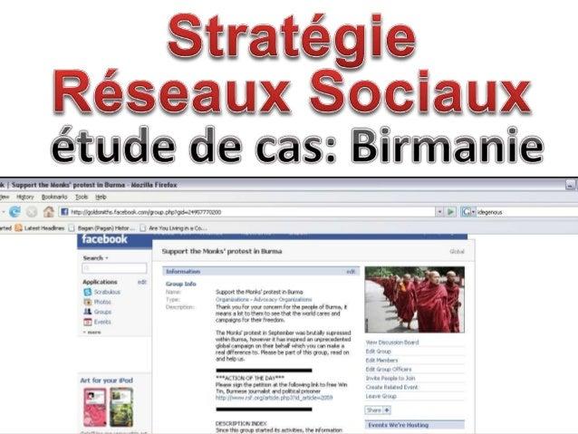 StratégieRéseaux Sociauxétude de cas: Birmanie<br />