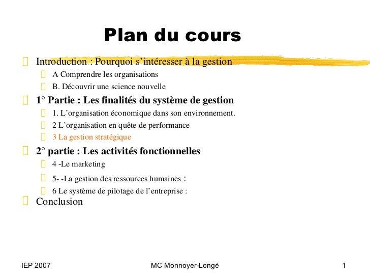 """Plan du cours"""" Introduction : Pourquoi s'intéresser à la gestion     ƒ     A Comprendre les organisations     ƒ     B. Déc..."""