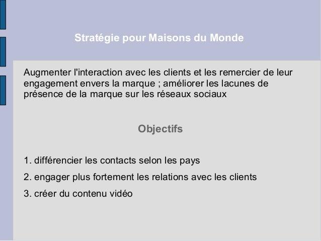 Strat gie r seaux sociaux maisons du monde - Maisons du monde service client ...