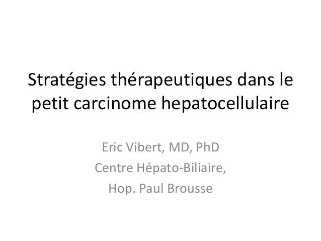 Stratégies thérapeutiques dans le petit carcinome hepatocellulaire Eric Vibert, MD, PhD Centre Hépato-Biliaire, Hop. Paul ...