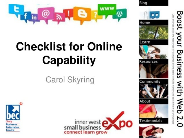 Checklist for Online Capability Carol Skyring