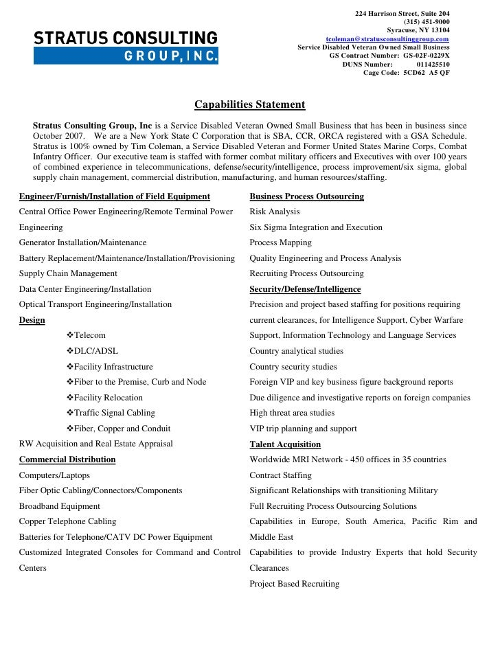 Stratus Consulting Group Inc Capabilities Statement One Page