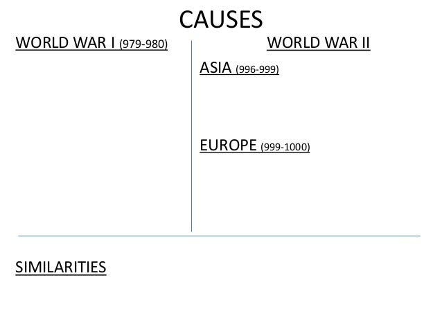 CAUSES WORLD WAR I (979-980) WORLD WAR II ASIA (996-999) EUROPE (999-1000) SIMILARITIES