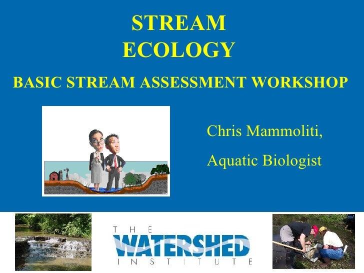 STREAM ECOLOGY BASIC STREAM ASSESSMENT WORKSHOP Chris Mammoliti, Aquatic Biologist