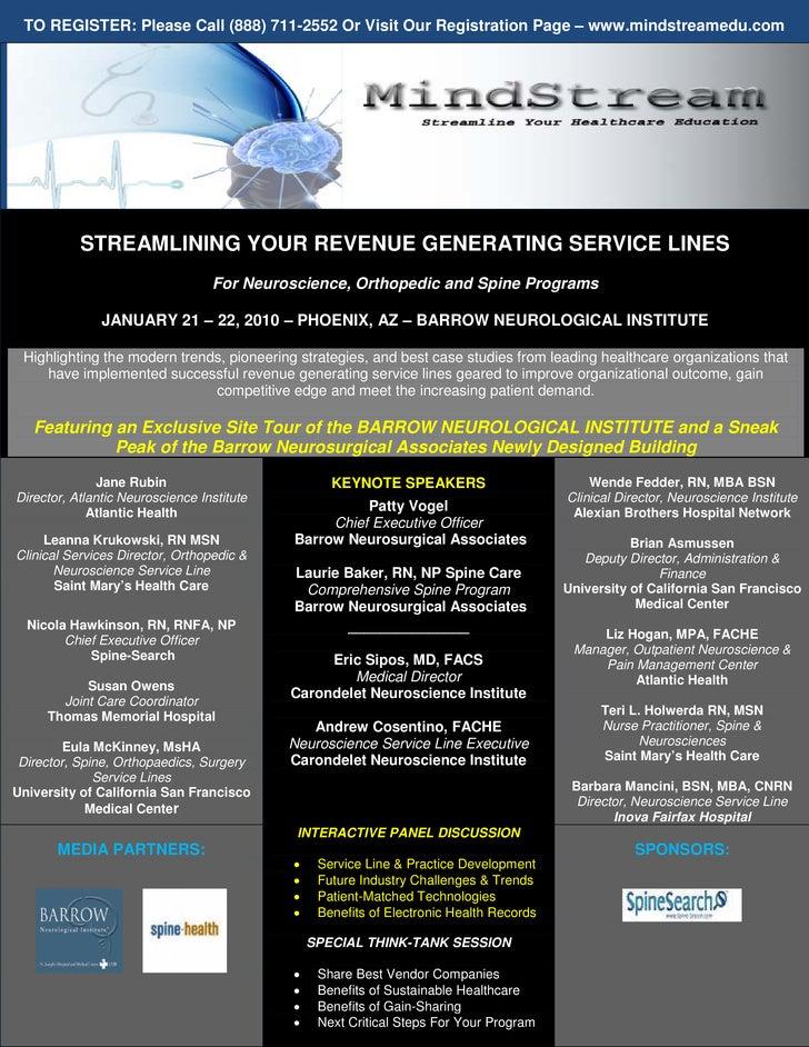 TO REGISTER: Please Call (888) 711-2552 Or Visit Our Registration Page – www.mindstreamedu.com                STREAMLINING...