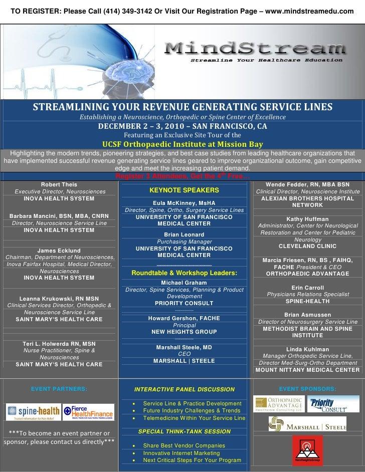 TO REGISTER: Please Call (414) 349-3142 Or Visit Our Registration Page – www.mindstreamedu.com               STREAMLINING ...