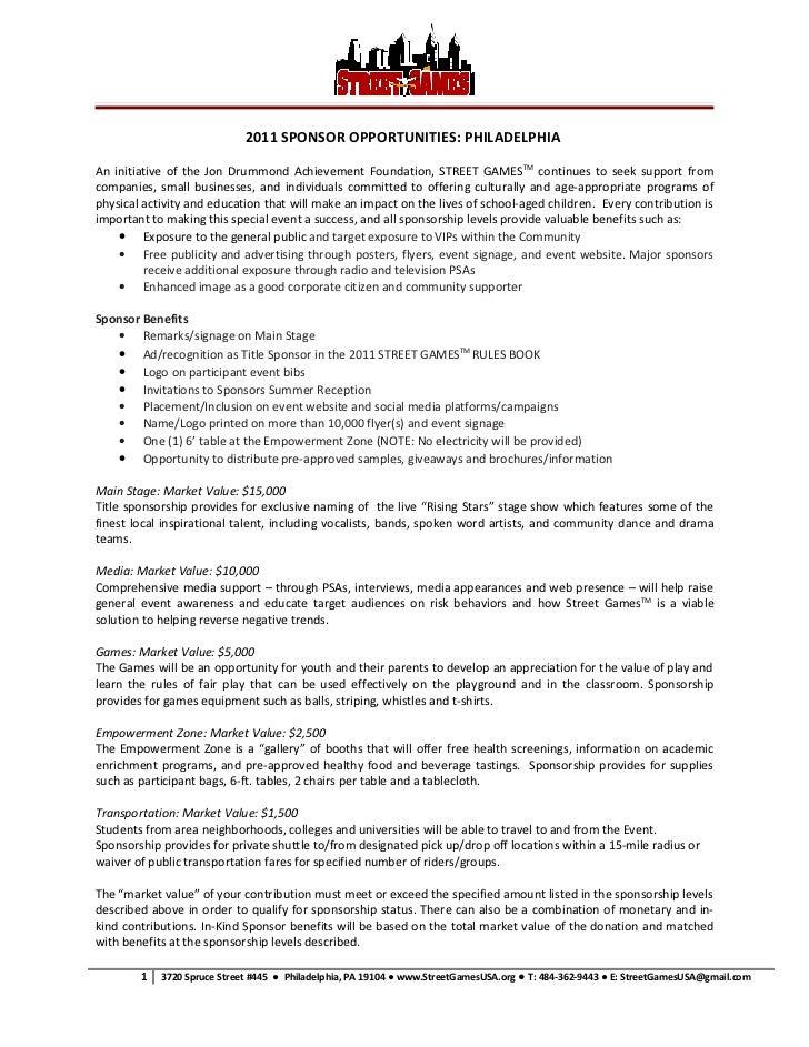 2011 SPONSOR OPPORTUNITIES: PHILADELPHIAAn initiative of the Jon Drummond Achievement Foundation, STREET GAMESTM continues...