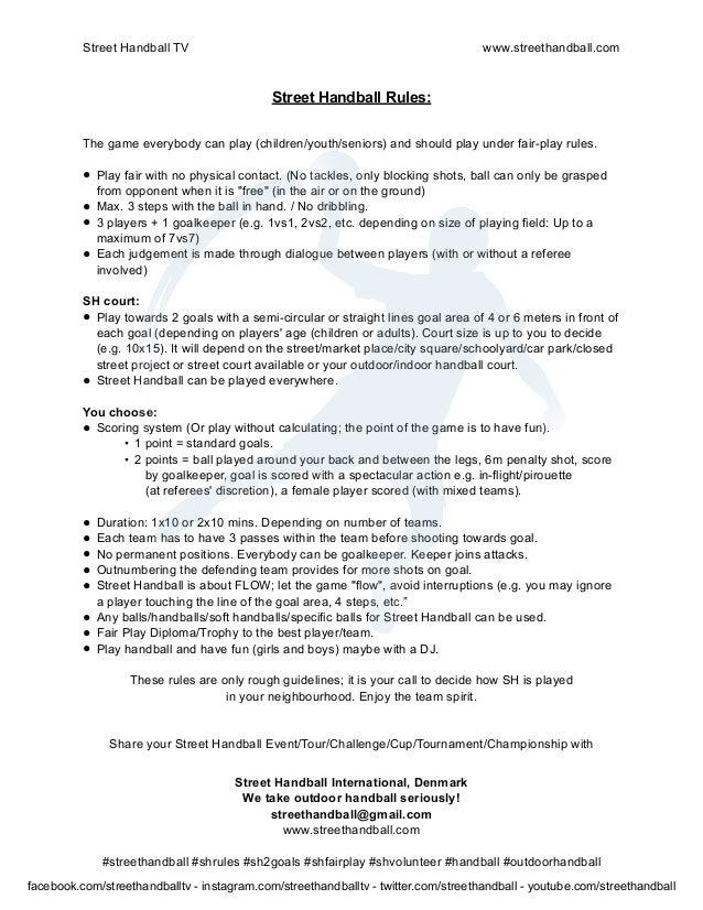 Handball Games Rules Street Handball Rules en Print