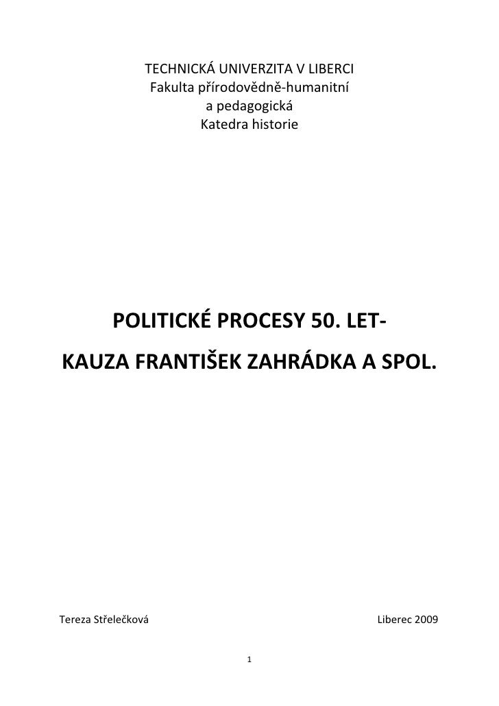 Střelečková, Tereza: politické procesy 50. let, kauza František Zahrádka a spol.