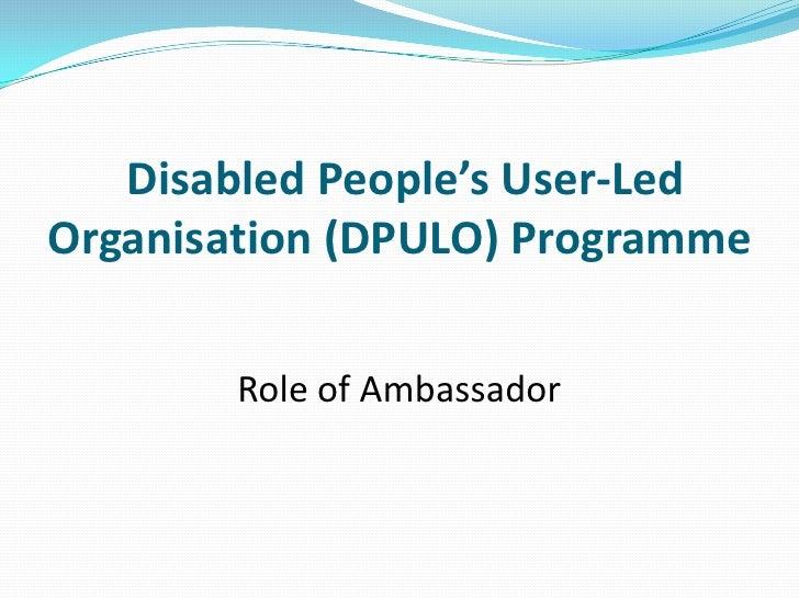 Disabled People's User-Led Organisation (DPULO) Programme <br />Role of Ambassador<br />