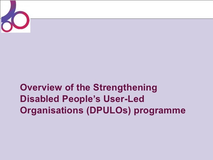 Overview of the StrengtheningDisabled People's User-LedOrganisations (DPULOs) programme