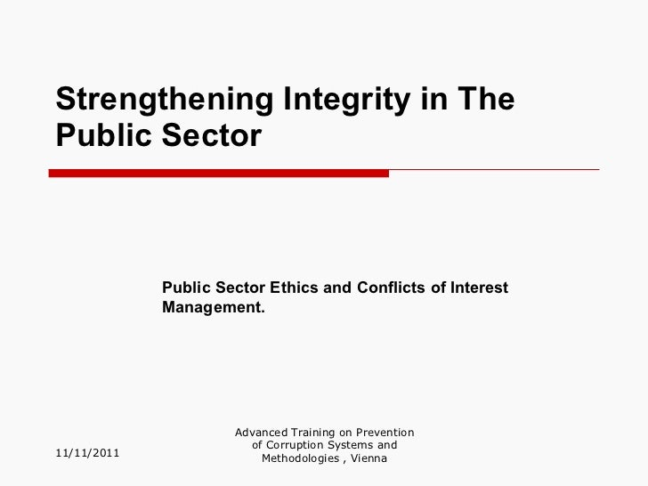 Strengthening integrity in the public sector