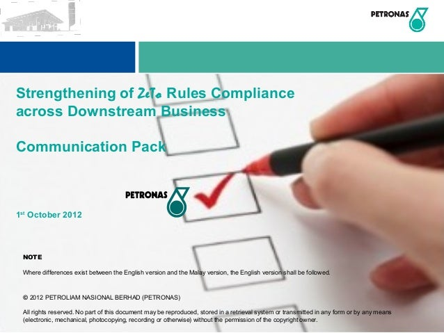 Strengthening of ZeTo Rules Complianceacross Downstream BusinessCommunication Pack1st October 2012 NOTE Where differences ...