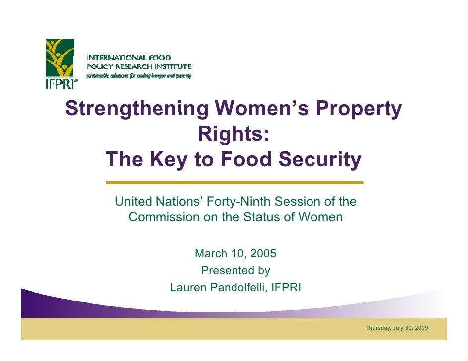 Strengthening Women's Property               Women s             Rights:     The Key to Food Security     United Nations' ...