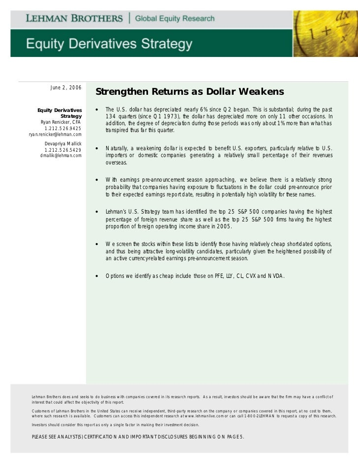 June 2, 2006                                     Strengthen Returns as Dollar Weakens    Equity Derivatives               ...