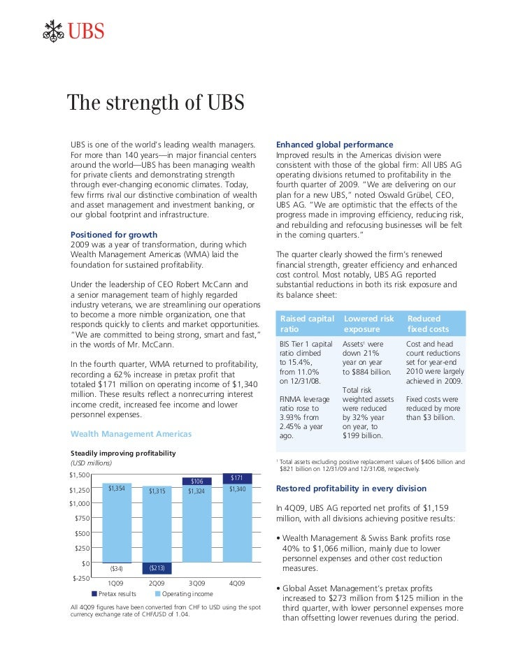 abThe strength of UBSUBS is one of the world's leading wealth managers.                    Enhanced global performanceFor ...