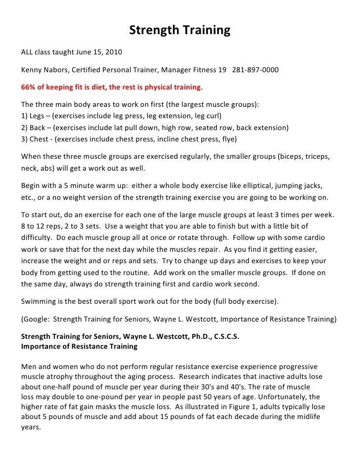 Strength Training ALL class taught June 15, 2010  Kenny Nabors, Certified Personal Trainer, Manager Fitness 19 281-897-000...