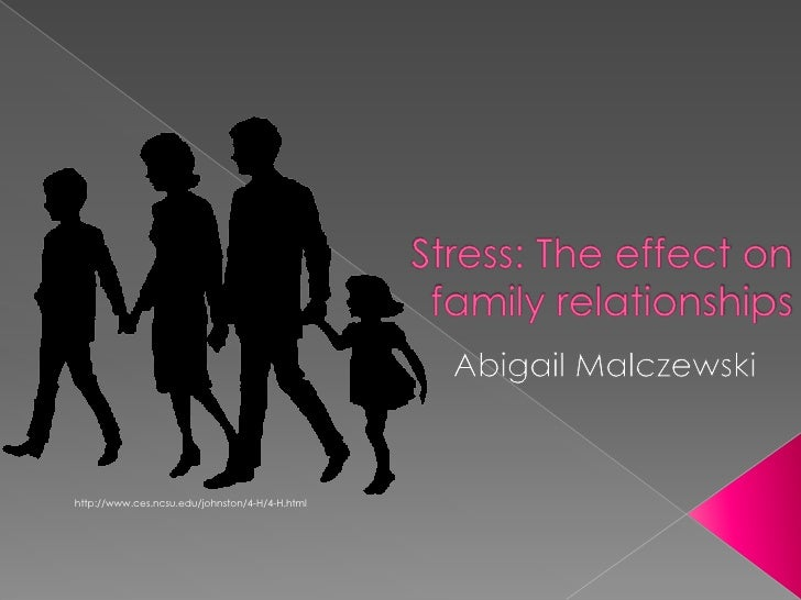 Stress: The effect on family relationships<br />Abigail Malczewski<br />http://www.ces.ncsu.edu/johnston/4-H/4-H.html<br />