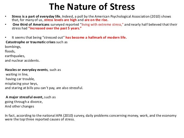 three ways that stress is conceptualised by psychologists Others have conceptualized stress in ways that emphasize the physiological  [ link] depicts the results of three national surveys in which several thousand.