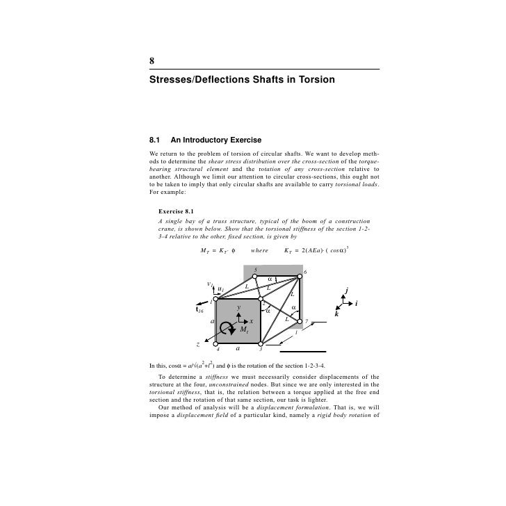 8Stresses/Deflections Shafts in Torsion8.1     An Introductory ExerciseWe return to the problem of torsion of circular shaf...