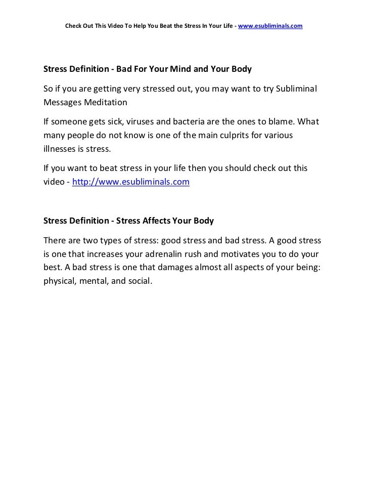 Stress definition   an how to beat stress