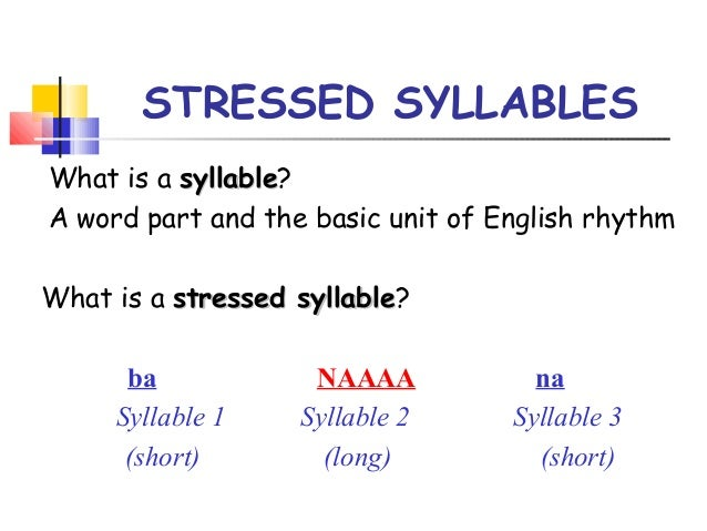 Stressed syllables 1 3-5 original