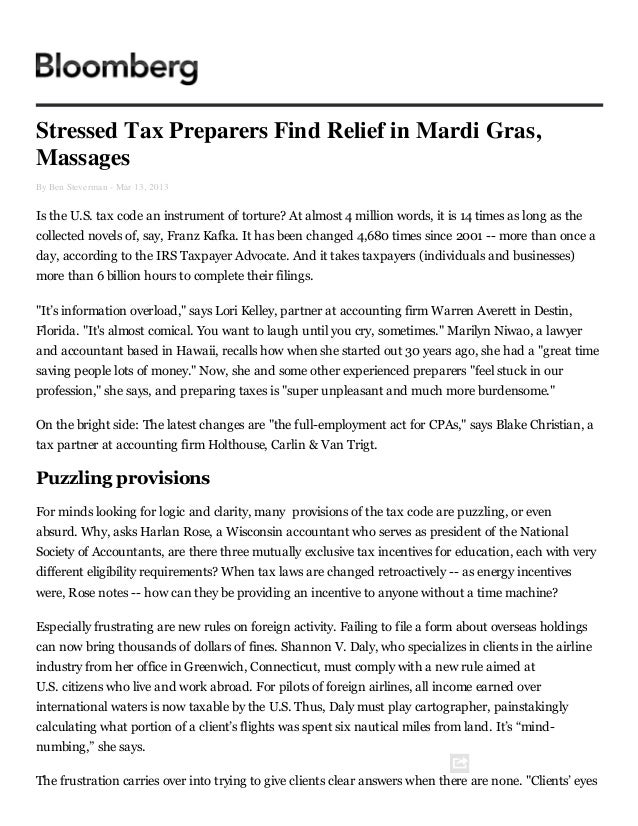 Stressed tax preparers find relief in mardi gras, massages