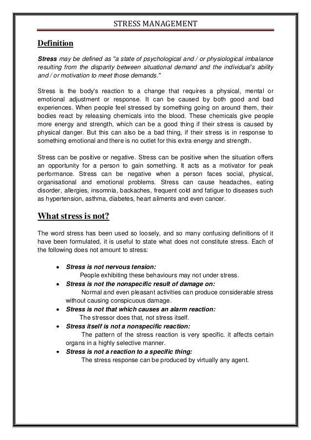 Free Essay Stress Management