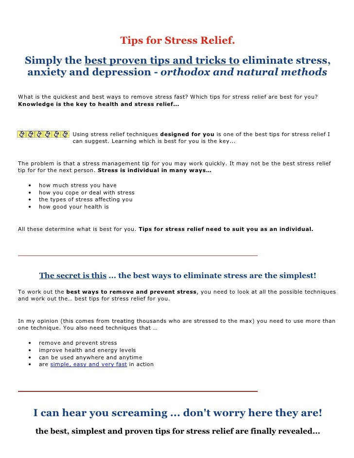 Tips for Stress Relief.   Simply the best proven tips and tricks to eliminate stress,   anxiety and depression - orthodox ...