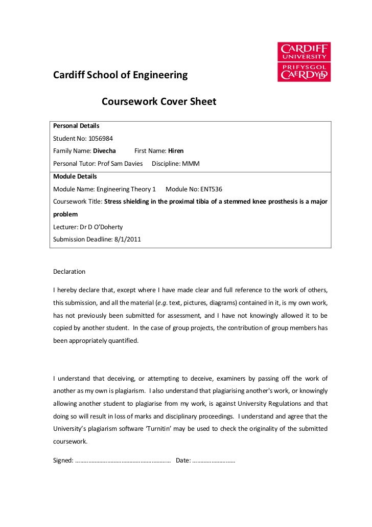 Cardiff School of Engineering                   Coursework Cover SheetPersonal DetailsStudent No: 1056984Family Name: Dive...