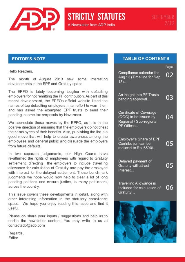 STRICTLY STATUTES A Newsletter from ADP India  SEPTEMBER 2013  TABLE OF CONTENTS  EDITOR'S NOTE  Pages  Hello Readers, The...