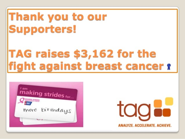 Thank you to our Supporters! TAG raises $3,162 for the fight against breast cancer