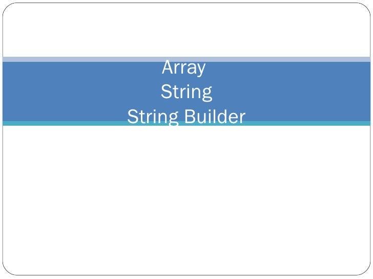 Strings Arrays