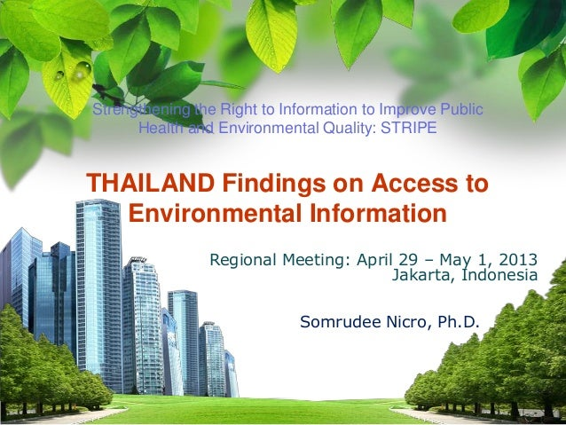 L/O/G/OStrengthening the Right to Information to Improve PublicHealth and Environmental Quality: STRIPETHAILAND Findings o...