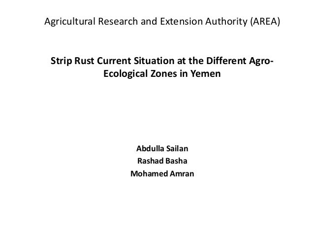 Agricultural Research and Extension Authority (AREA) Strip Rust Current Situation at the Different Agro- Ecological Zones ...