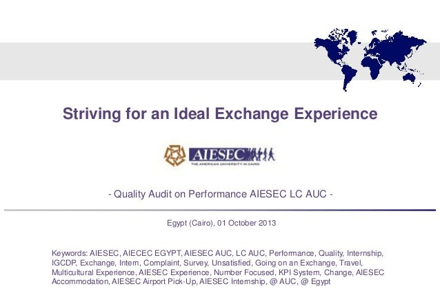 Striving for an Ideal Exchange Experience - Quality Audit AIESEC LC AUC (Egypt)