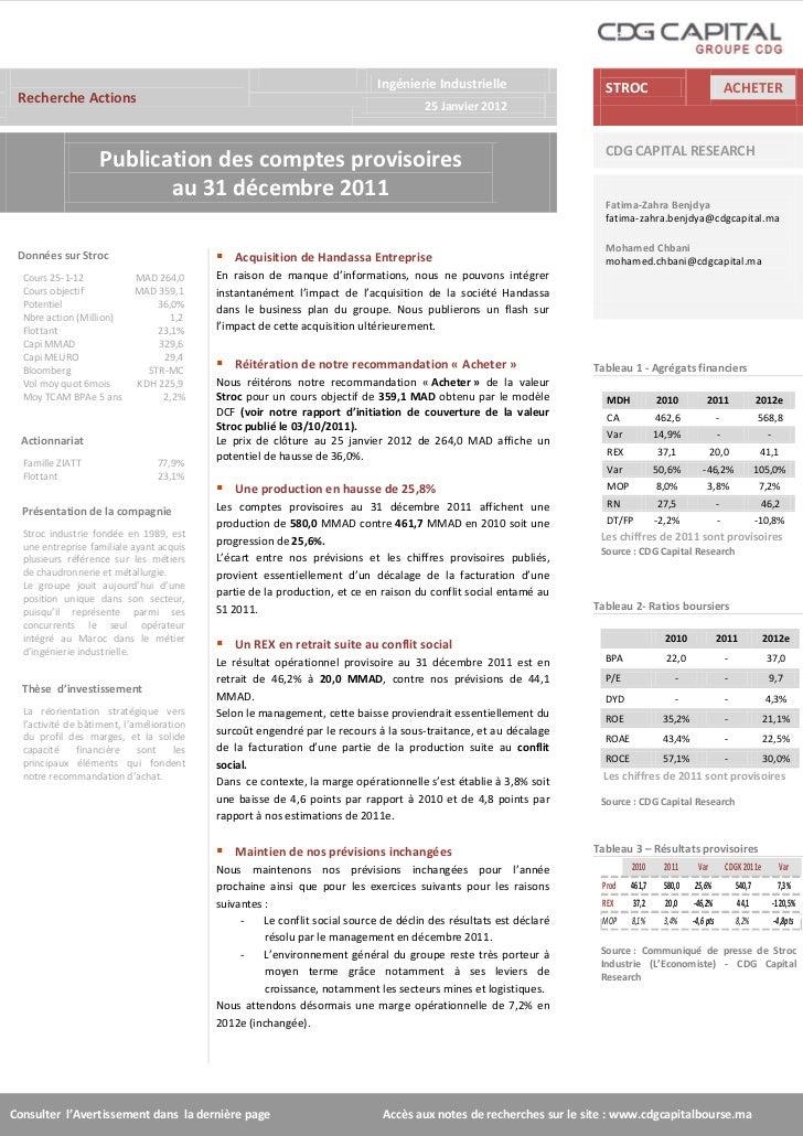 Stroc industrie  résultats provisoires 2011-