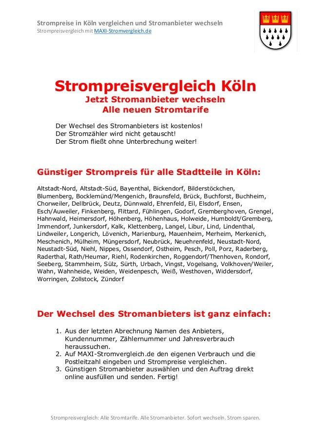 Strompreise in Köln vergleichen und Stromanbieter wechseln Strompreisvergleich mit MAXI-Stromvergleich.de  Strompreisvergl...