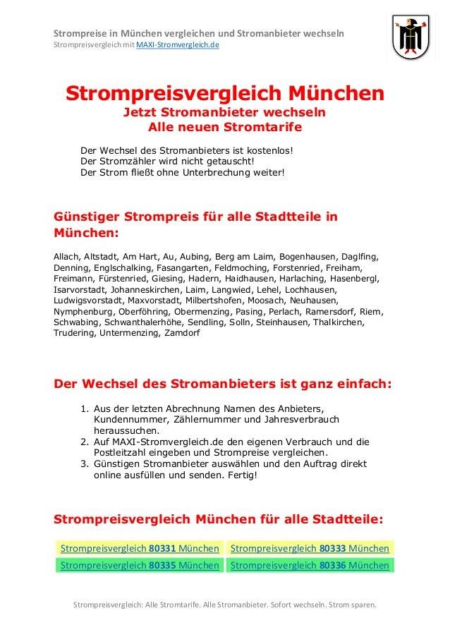 Strompreise in München vergleichen und Stromanbieter wechseln Strompreisvergleich mit MAXI-Stromvergleich.de  Strompreisve...