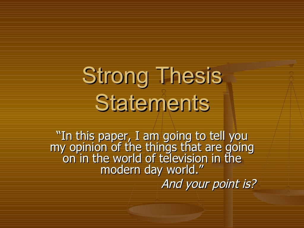 Creating A Good Thesis