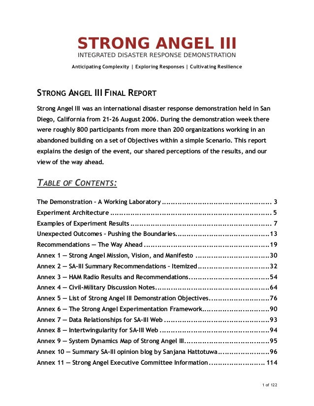 Final Report: 2006 StrongAngel III - integrated disaster response demonstration in San Diego