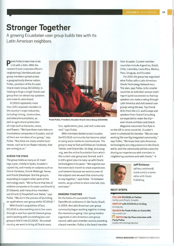 Paola Pullas's Oracle Magazine Interview Septiembre - Octubre 2010