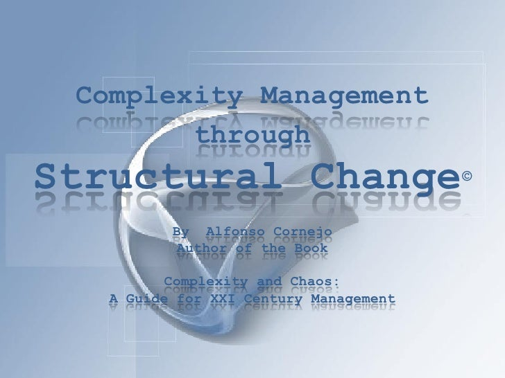 Complexity Management         through Structural Change                       ©             By Alfonso Cornejo           A...
