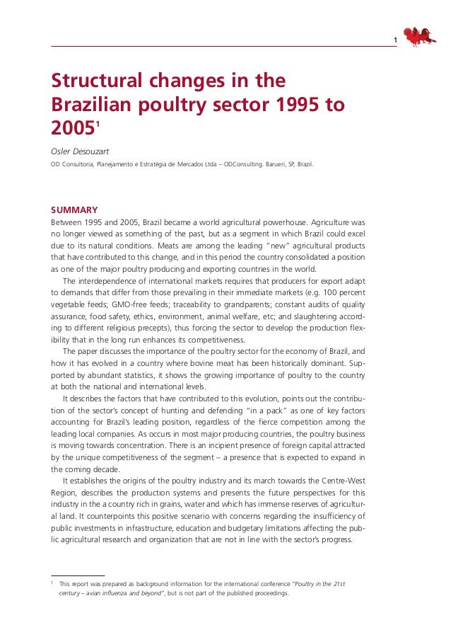 Structural changes in the brazilian poultry industry 1995 2005